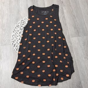 NWOT Gray Pumpkin Tank Top Graphic Tee Halloween